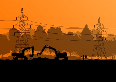 construction site: Electricity high power voltage line with construction engineers and excavator loaders and tractors in countryside forest field construction site landscape illustration