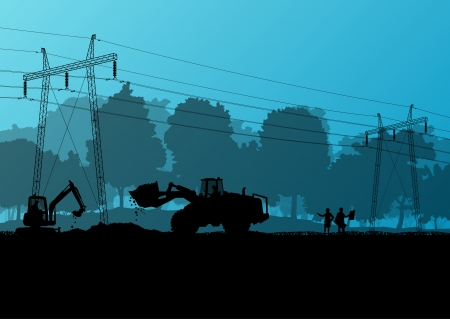 electrical engineer: Electricity high power voltage line with construction engineers and excavator loaders and tractors in countryside forest field construction site landscape illustration