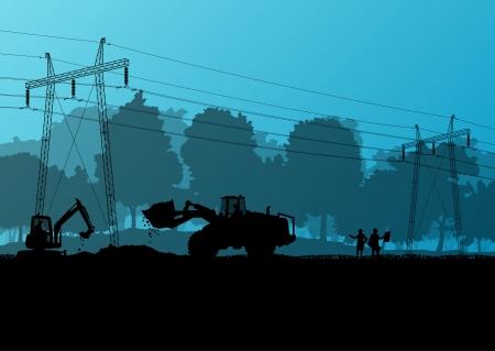 spannung: Strom Hochspannungsleitung mit Bauingenieuren und Baggerlader und Traktoren in der Landschaft Wald Feld Baustelle Landschaftsabbildung Illustration