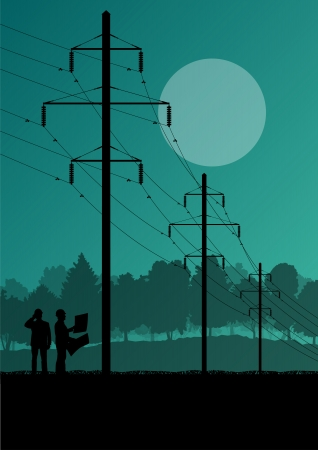 Electricity high power voltage line with construction engineers and excavator loaders and tractors in countryside forest field construction site landscape illustration Vector