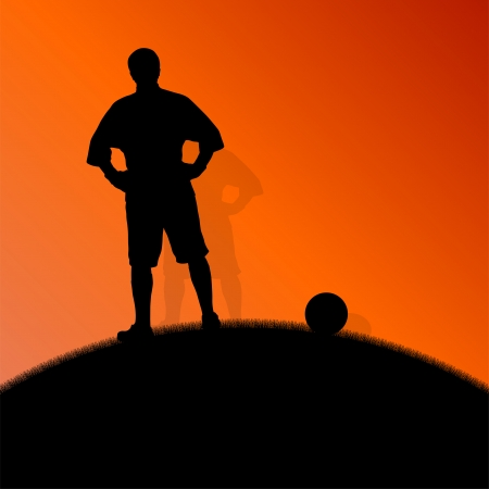 Soccer football players active sport silhouettes vector background illustration concept Vector