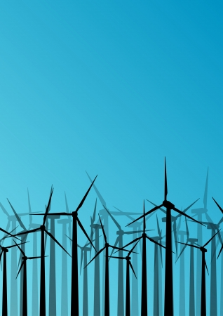Colorful wind electricity generators and windmills detailed ecology electricity silhouettes