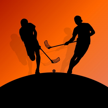 floor ball: Floor ball players active sport silhouettes  Illustration