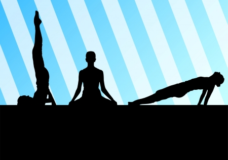 Yoga silhouettes vector background abstract template concept for poster Vector