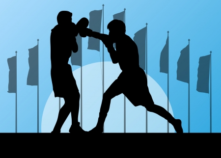 boxing ring: Boxing active young men box sport silhouettes vector abstract background illustration landscape with flags for poster