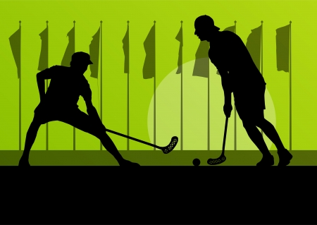 Floorball player vector silhouette background landscape with flags for poster Vector