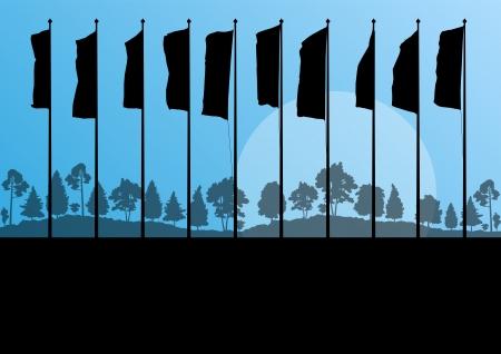 флагшток: Waving flags Иллюстрация