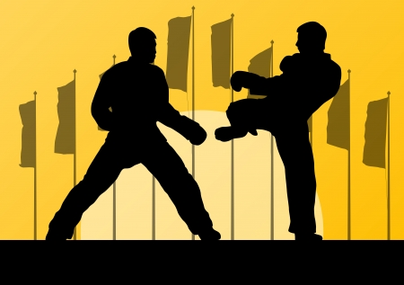 Active taekwondo martial arts fighters combat fighting and kicking sport silhouettes  Vector