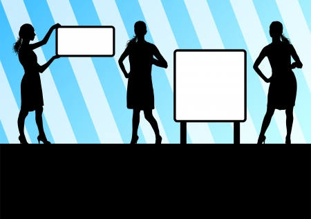 Woman hold blank board, empty banner  Vector