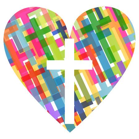 Christianity religion cross mosaic heart Vectores