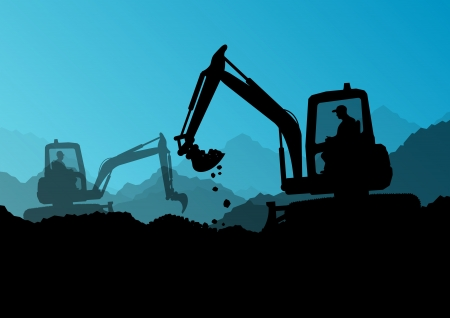 digger: Excavator bulldozer loaders, tractors and workers digging at industrial construction site vector background illustration