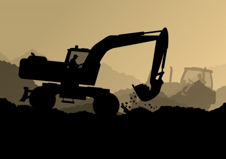 Excavator bulldozer loaders, tractors and workers digging at industrial construction site vector background illustration Vector