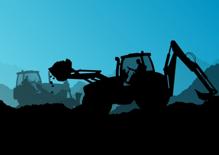 excavating machine: Excavator bulldozer loaders, tractors and workers digging at industrial construction site Illustration