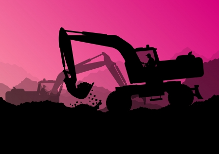 digger: Excavator bulldozer loaders, tractors and workers digging at industrial construction site Illustration
