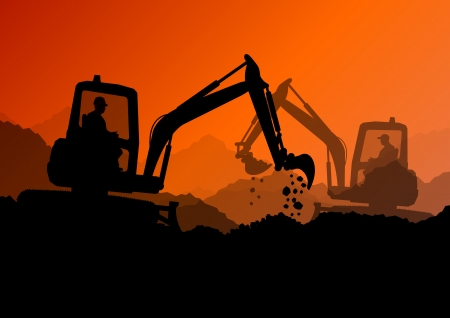 excavating machine: Excavator bulldozer loaders, tractors and workers digging at industrial construction site