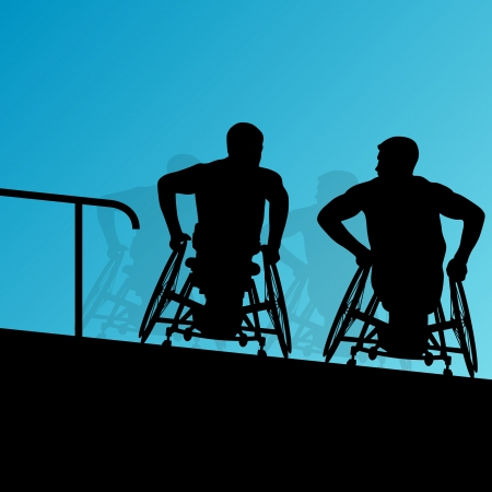 accessible: Active disabled young men on a wheelchair detailed health care stair steps concept silhouette   Illustration
