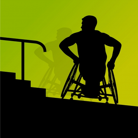 ramp: Active disabled young men on a wheelchair detailed health care stair steps concept silhouette  Illustration
