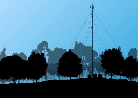 radio tower: Telecommunications mobile phone base station radio tower with engineers in industrial concept background vector