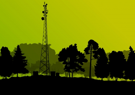 repeater: Telecommunications mobile phone base station radio tower with engineers in industrial concept background vector