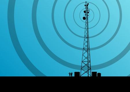 산업 개념 배경 벡터에서 엔지니어들과 통신 휴대 전화 기지국 라디오 타워 일러스트