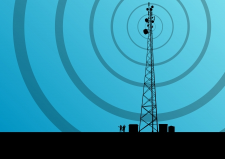 wireless tower: Telecommunications mobile phone base station radio tower with engineers in industrial concept background vector