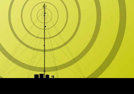 telecommunication tower: Telecommunications mobile phone base station radio tower with engineers in industrial concept background vector