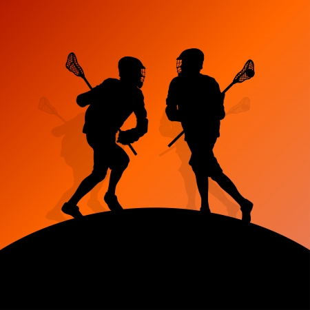 Lacrosse players active men sports silhouettes