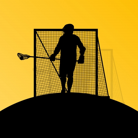 lacrosse: Lacrosse players active men sports silhouettes