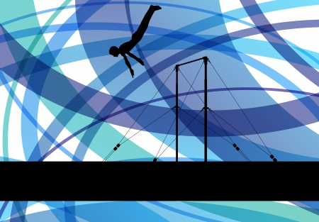 Gymnastics bar silhouette athlete Stock Vector - 25213780