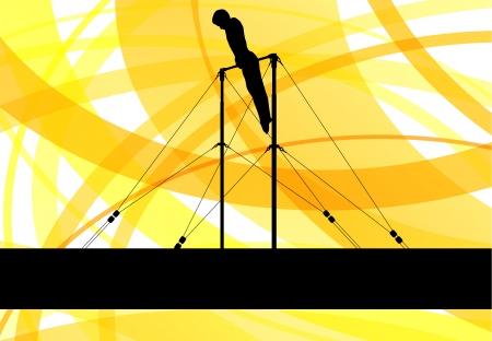 Gymnastics bar silhouette athlete Stock Vector - 25213781
