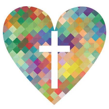 cristianismo: Cristianismo religi�n cruz mosaico concepto coraz�n Vectores
