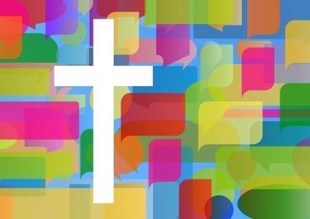Il cristianesimo religione concetto di mosaico croce astratto illustrazione vettoriale per il manifesto
