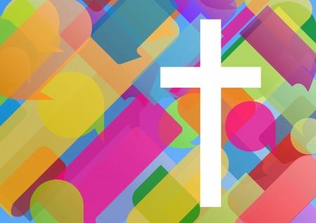 pasqua cristiana: Il cristianesimo religione concetto di mosaico croce astratto illustrazione vettoriale per il manifesto