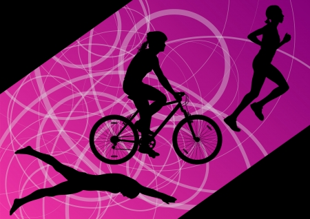 triathlon: Triathlon marathon active young women swimming cycling and running sport silhouettes collection vector abstract background illustration