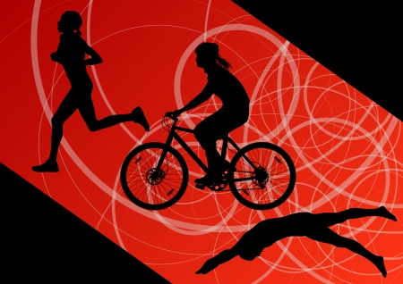 Triathlon marathon active young women swimming cycling and running sport silhouettes Vector