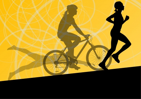 triathlon: Triathlon marathon active young women swimming cycling and running sport silhouettes  Illustration