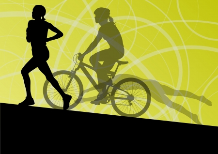 young boy in pool: Triathlon marathon active young women swimming cycling and running sport silhouettes  Illustration