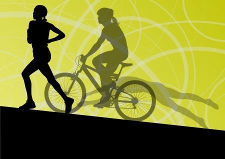 swim race: Triatl�n marat�n mujeres j�venes activas nataci�n ciclismo y carrera a las siluetas del deporte