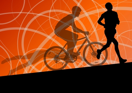 Triathlon marathon active young men swimming cycling and running sport silhouettes  Vector