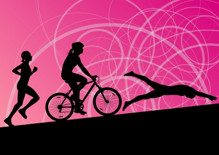 Triathlon marathon active young women swimming cycling and running sport silhouettes Ilustracja