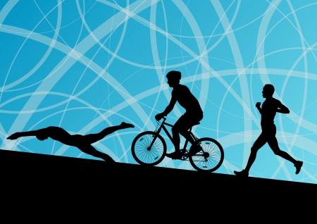 Triathlon marathon actieve jonge mannen zwemmen fietsen en lopen sportsilhouetten