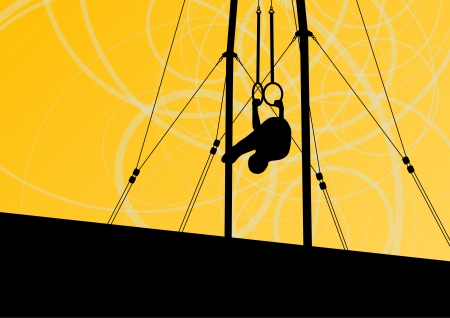female athlete: Active and strong children in gymnastics rings sport silhouette  Illustration