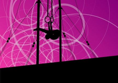 female athlete: Active and strong children in gymnastics rings sport silhouette