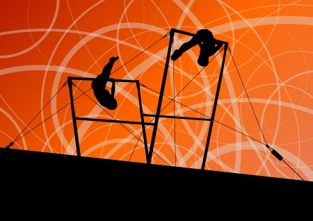 young gymnastics: Active children sport silhouettes on uneven bars