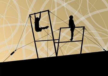 uneven: Active children sport silhouettes on uneven bars