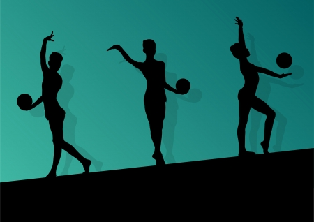 Active young girl gymnasts silhouettes with acrobatics ball   Vector
