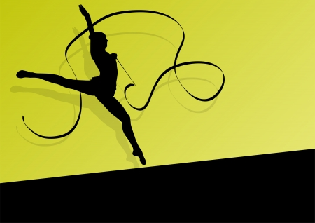 rhythmic gymnastic: Teenager gymnastics with ribbon Illustration