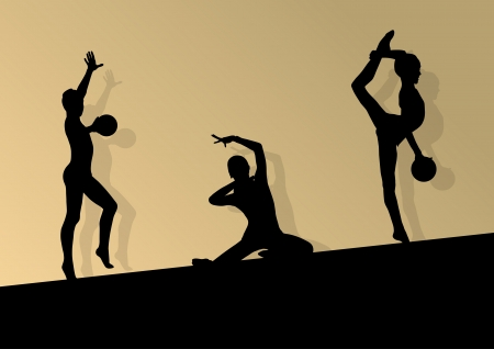 Active young girl gymnasts silhouettes in acrobatics ball abstract background  Vector