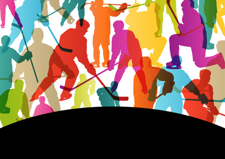 brave of sport: Active young men ice hockey sport silhouettes skating in winter sports abstract background illustration vector