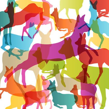 wild venison: Doe venison deer silhouettes in abstract animal background illustration vector Illustration